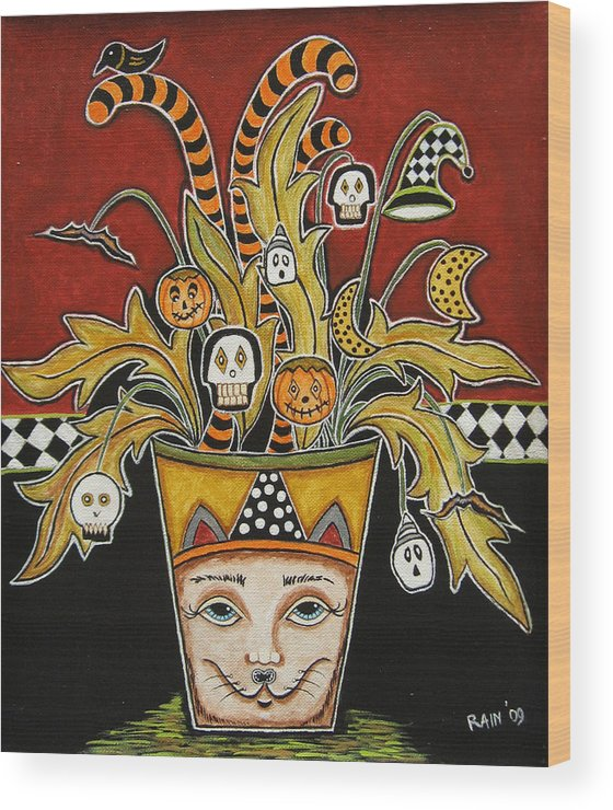 Folk Art Paintings Wood Print featuring the painting Spooky Halloween Bouquet 1 by Rain Ririn