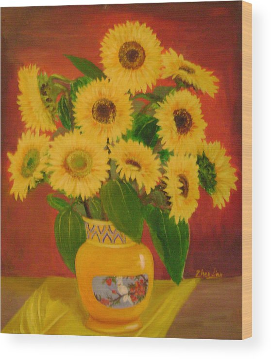 Floral Wood Print featuring the painting Sunflower by Lian Zhen