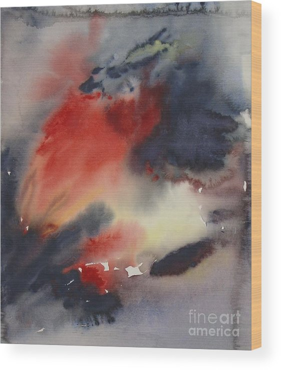 Sky Sunset Red Dark Stormy Evening Dusk Clearing Leila Atkinson Original Watercolor Wood Print featuring the painting Sunset Series I by Leila Atkinson