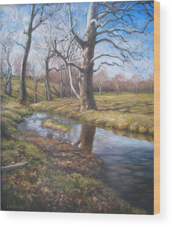 Landscape Wood Print featuring the painting Sycamores by Stephen Howell