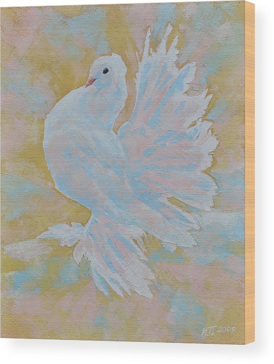 Dove Wood Print featuring the painting The Dove by Iliyan Bozhanov