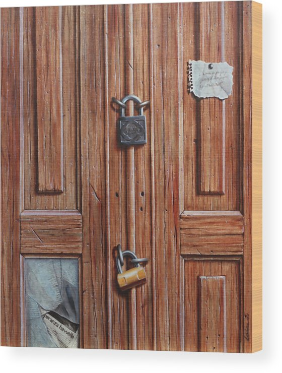 Door Wood Print featuring the painting The Message Door by Laine Garrido