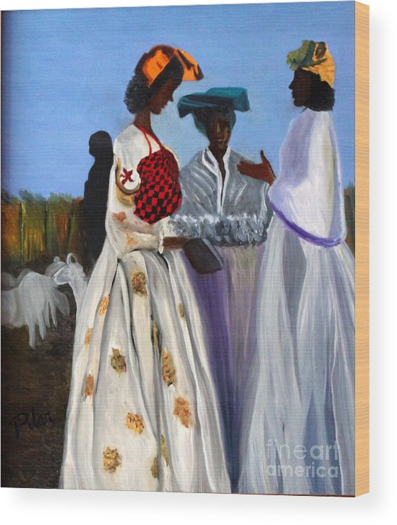 Wood Print featuring the painting Three African Women by Pilar Martinez-Byrne