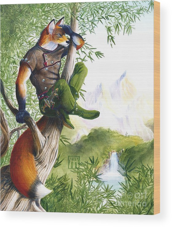 Fantasy Wood Print featuring the painting Trail Blazing Fox by Melissa A Benson