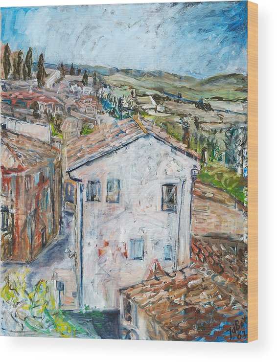 Tuscany Italy White House Landscape Cypresse Hills Roofs Sheds Houses Blue Sky Fields Tiles Wood Print featuring the painting Tuscan House by Joan De Bot