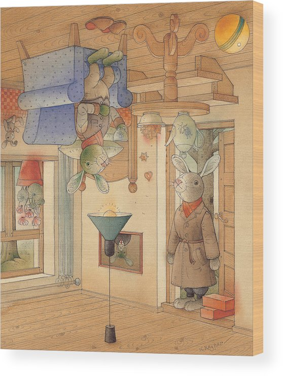 Rabbits Wood Print featuring the painting Two Rabbits by Kestutis Kasparavicius