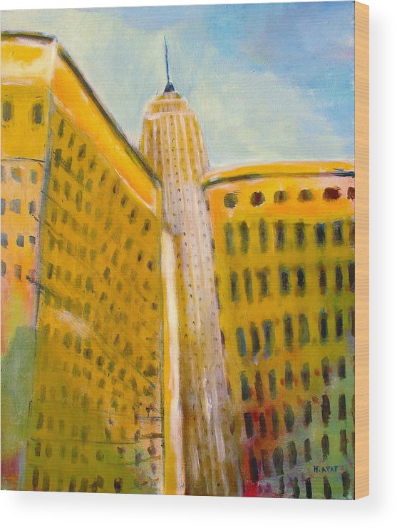 Abstract Cityscape Wood Print featuring the painting View From The 33 St by Habib Ayat