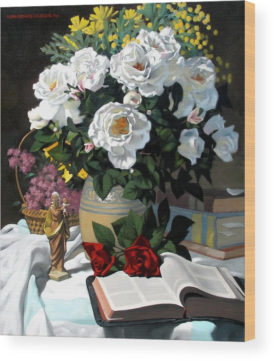 Roses Wood Print featuring the painting White Roses by Kevin Lawrence Leveque