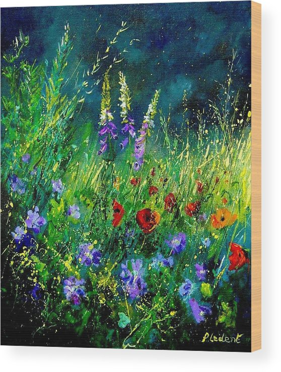 Poppies Wood Print featuring the painting Wild Flowers by Pol Ledent