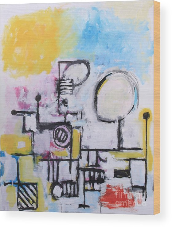 Abstract Wood Print featuring the painting Woman At The Beach by Michael Henderson