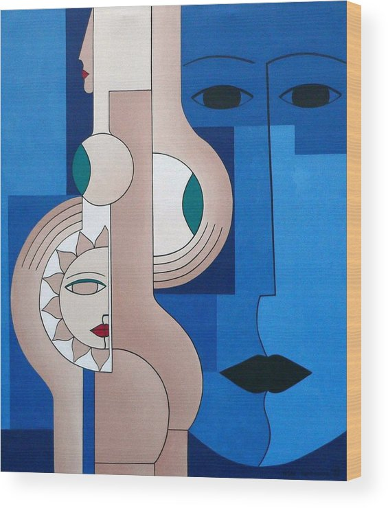 Women Bips Bleu Modern Wood Print featuring the painting Women And Questions by Hildegarde Handsaeme