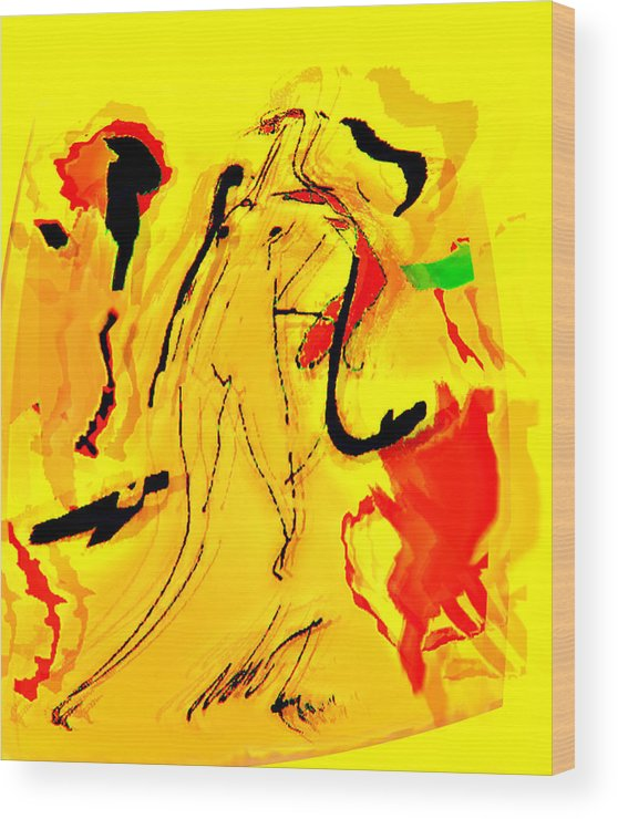 Abstration Wood Print featuring the digital art Yellow by Noredin Morgan