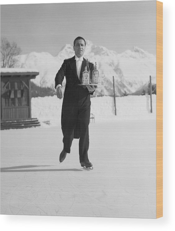 Snow Wood Print featuring the photograph Skating Waiter by Horace Abrahams