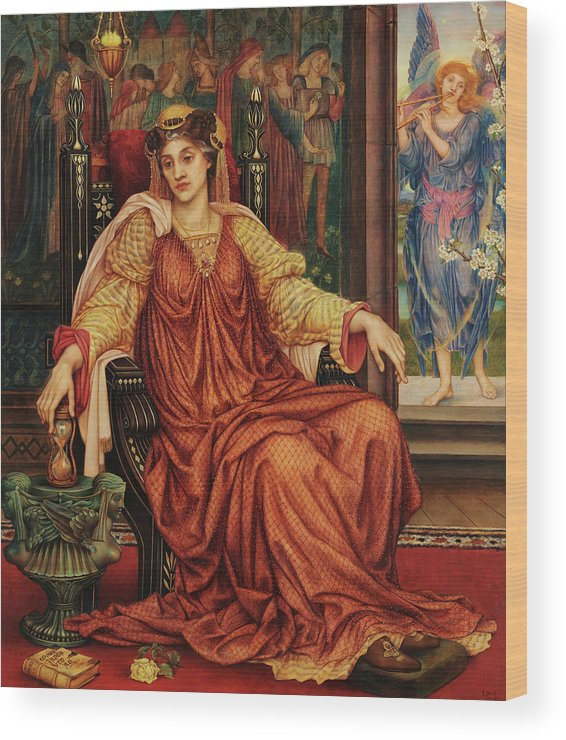 Evelyn De Morgan Wood Print featuring the painting The Hourglass, 1905 by Evelyn De Morgan