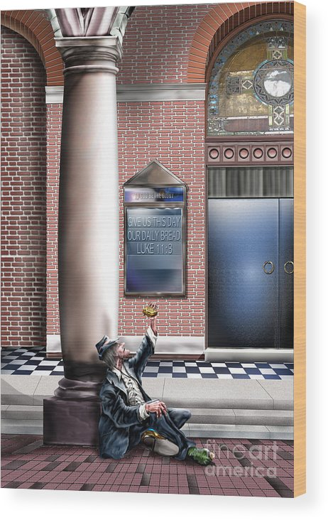 Homeless Man Wood Print featuring the painting Daily Bread A1 by Reggie Duffie
