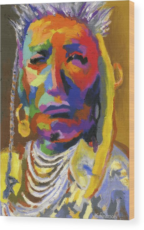 Indian Wood Print featuring the painting Proud Native American II by Stephen Anderson