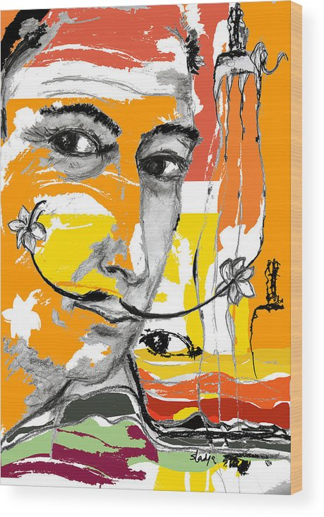Portraits Wood Print featuring the digital art Salvador Dali by Sladjana Lazarevic