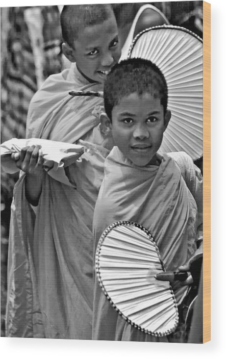 Buddhism Wood Print featuring the photograph Young Monks Bw by Steve Harrington