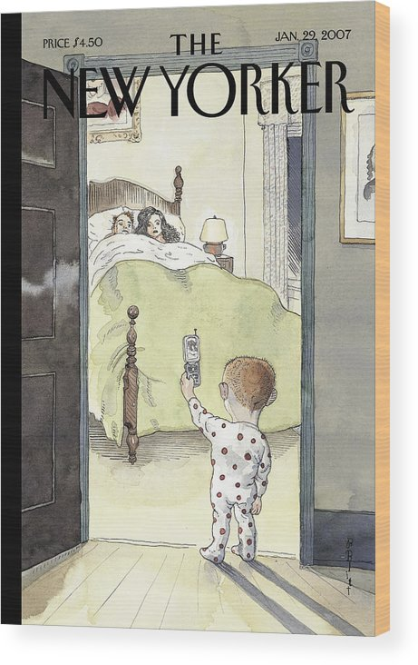 123603   Wood Print featuring the painting New Yorker January 29th, 2007 by Barry Blitt