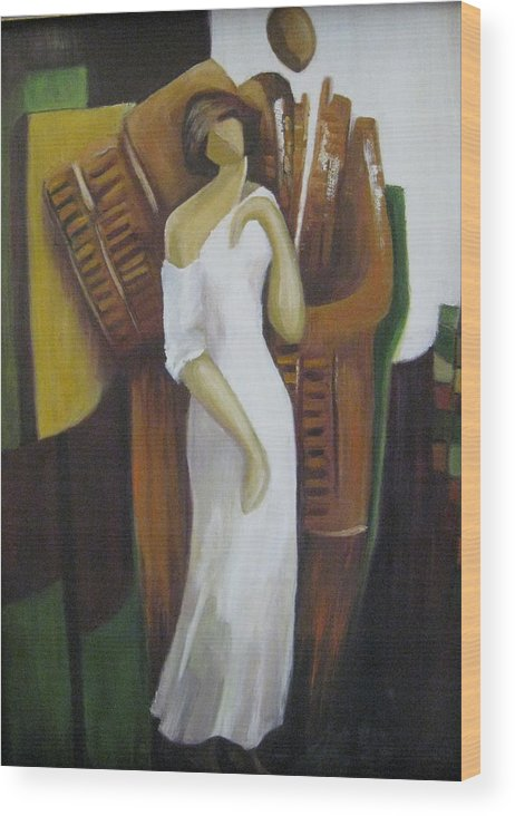 Woman Wood Print featuring the painting Abstract White Woman by Jessy