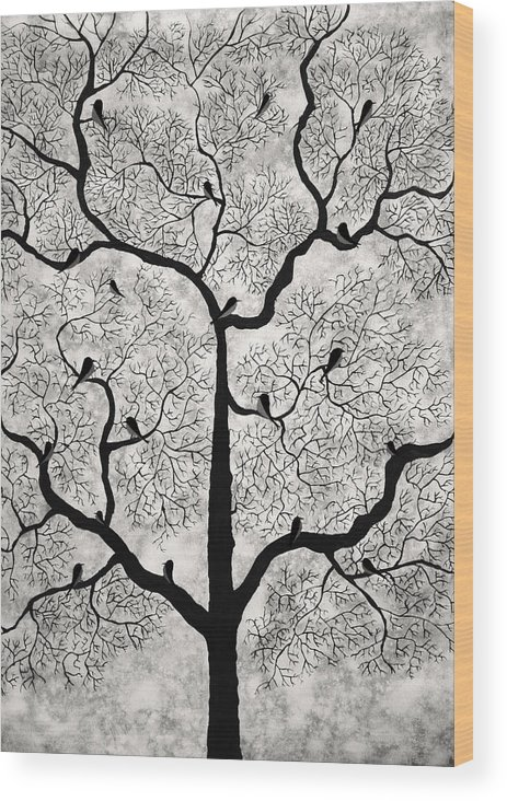 Treescape Wood Print featuring the mixed media Birds And Trees by Sumit Mehndiratta