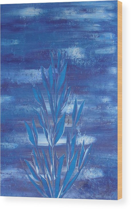 Nico Wood Print featuring the painting Blue 2 by Nico Bielow