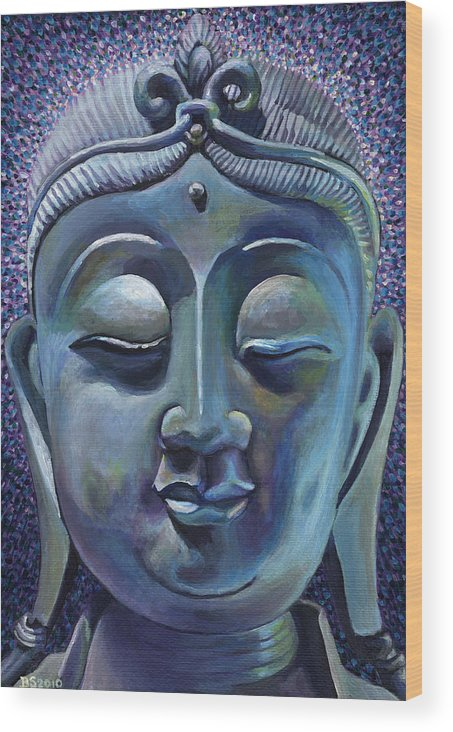 Buddha Wood Print featuring the painting Copper Buddha by Bettie Stijnman