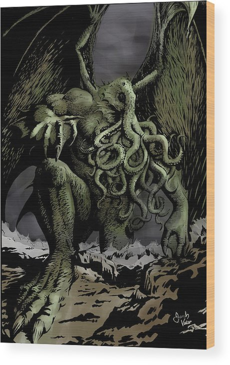 Cthulhu Wood Print featuring the digital art Cthulhu Rising by Joseph Vallejo