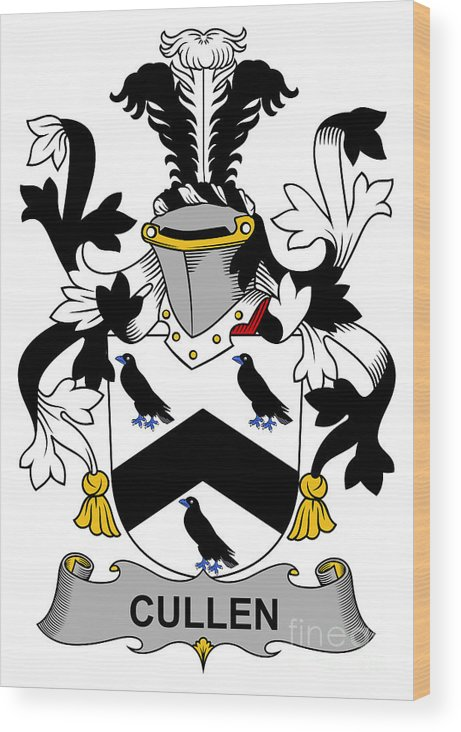 Cullen Wood Print featuring the digital art Cullen Coat Of Arms Irish by Heraldry