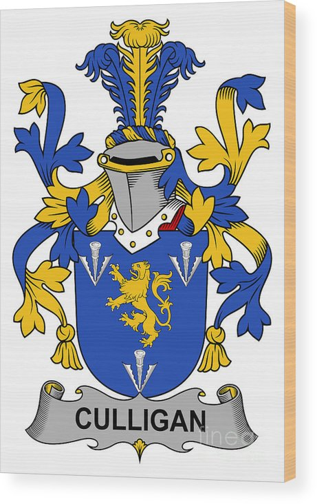 Culligan Wood Print featuring the digital art Culligan Coat Of Arms Irish by Heraldry