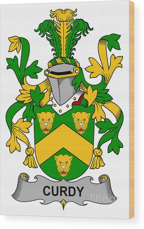 Curdy Wood Print featuring the digital art Curdy Coat Of Arms Irish by Heraldry