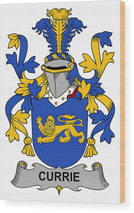 Currie Wood Print featuring the digital art Currie Coat Of Arms Irish by Heraldry