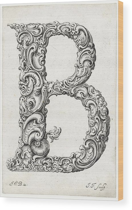 B Wood Print featuring the photograph Decorative Letter Type B 1650 by Georgia Fowler