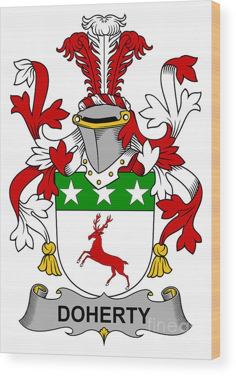 Doherty Wood Print featuring the digital art Doherty Coat Of Arms Irish by Heraldry