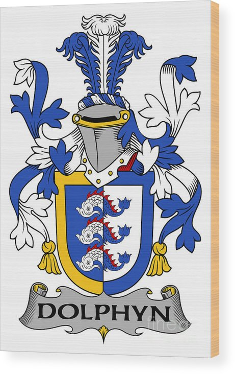 Dolphyn Wood Print featuring the digital art Dolphyn Coat Of Arms Irish by Heraldry