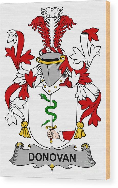 Donovan Wood Print featuring the digital art Donovan Coat Of Arms Irish by Heraldry