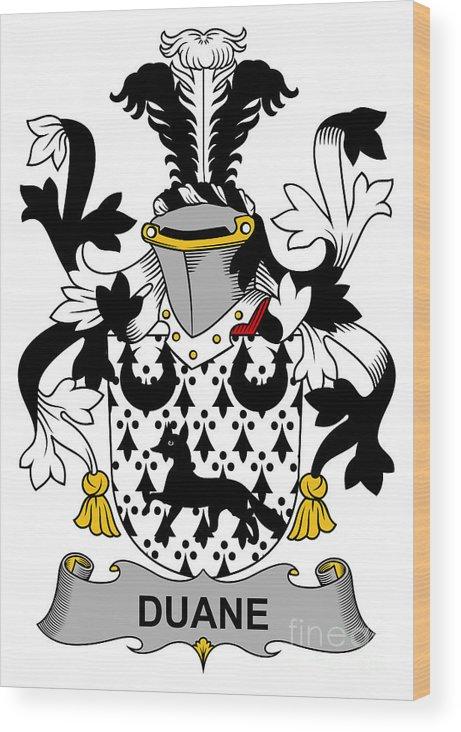 Duane Wood Print featuring the digital art Duane Coat Of Arms Irish by Heraldry