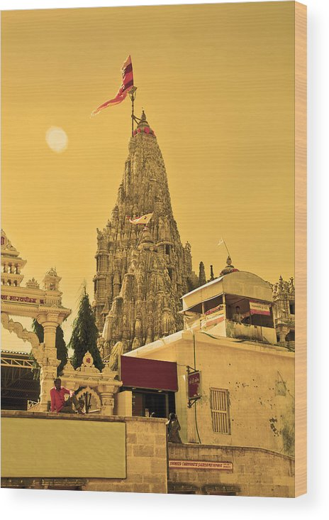 Vertical Wood Print featuring the photograph Dwarka Krishna Temple by Kantilal Patel