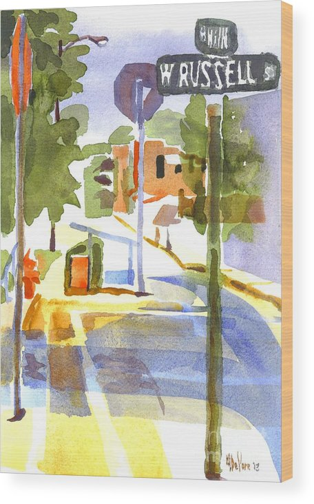 Early Morning Sunshine Wood Print featuring the painting Early Morning Sunshine by Kip DeVore