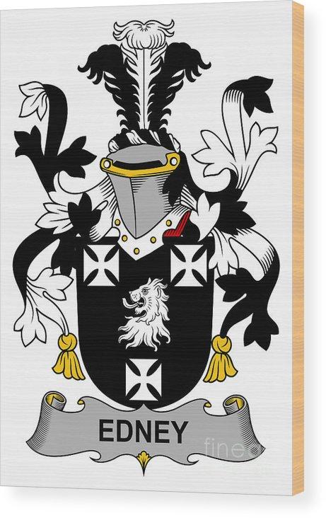 Edney Wood Print featuring the digital art Edney Coat Of Arms Irish by Heraldry