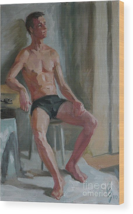 Man Wood Print featuring the painting Etude 24 by Sergey Sovkov