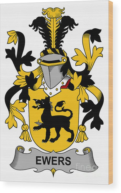 Ewers Wood Print featuring the digital art Ewers Coat Of Arms Irish by Heraldry