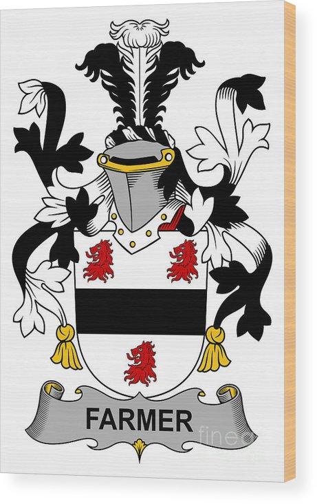 Farmer Wood Print featuring the digital art Farmer Coat Of Arms Irish by Heraldry