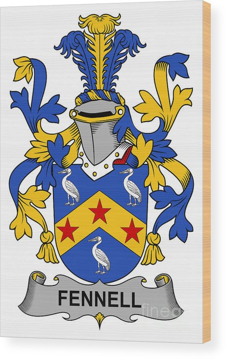 Fennell Wood Print featuring the digital art Fennell Coat Of Arms Irish by Heraldry
