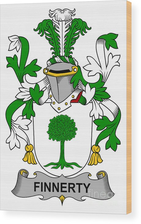 Finnerty Wood Print featuring the digital art Finnerty Coat Of Arms Irish by Heraldry