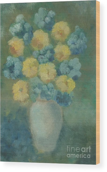 Flowers Wood Print featuring the painting Fiori Azzurri by Dayanne Dilton