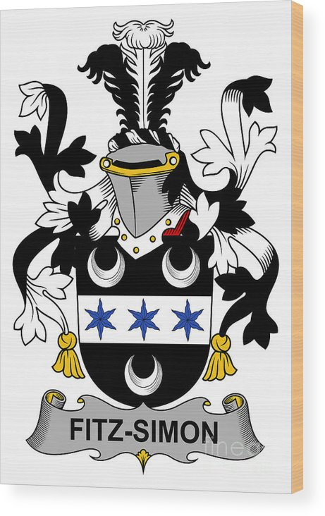 Fitz-simon Wood Print featuring the digital art Fitzsimon Coat Of Arms Irish by Heraldry