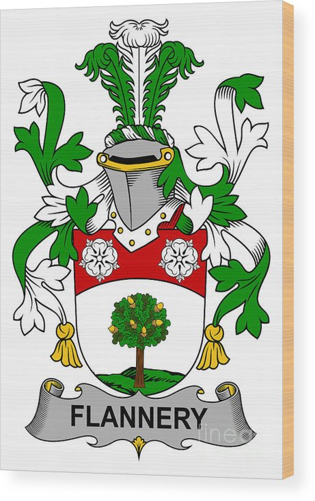 Flannery Wood Print featuring the digital art Flannery Coat Of Arms Irish by Heraldry