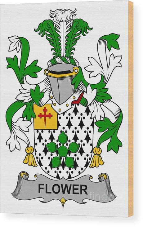Flower Wood Print featuring the digital art Flower Coat Of Arms Irish by Heraldry