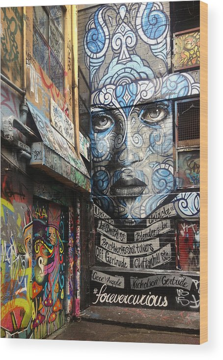 Graffiti Wood Print featuring the painting Forever Curious by Roz McQuillan